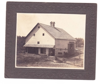 Real Black and White Photo of Huge Barn Vintage 1903