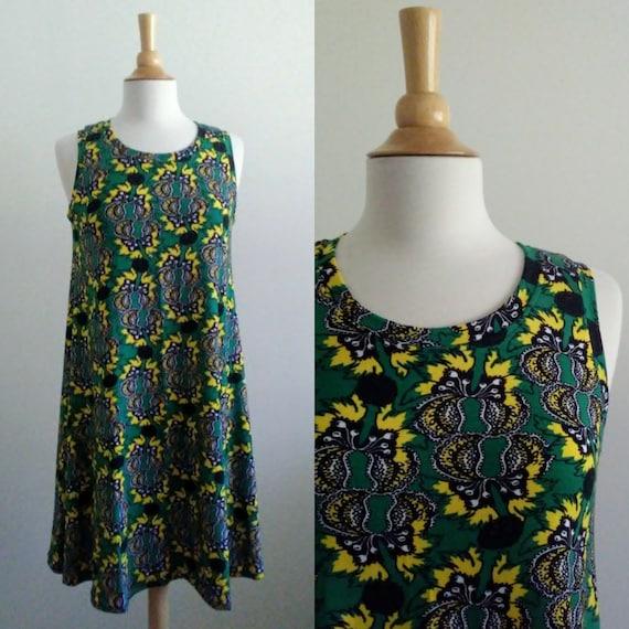 Size Medium Emerald green botanical Swing Dress sleeveless tank dress modest shift dress summer knee length loose fit and flare