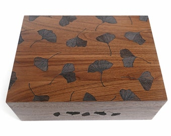 Ginkgo Leaves Wood Keepsake Box [5th, Fifth, Five Year Anniversary Gift / Wedding Box / Baby Shower Gift / Memory Box]