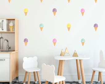 Ice cream wall decals // wall stickers // bright ice creams
