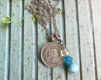Necklace Iceland Blue/silver coin necklace