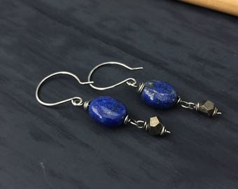 Lapis and Pyrite Sterling Silver Drop Earrings. Royal Cobalt Blue and Fools Gold by Anne More Jewelry