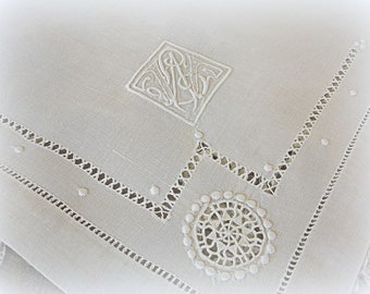 vintage embroidered linen table topper hand embroidery embroidered by hand white on white monogram L W or W L drawn work on fine linen