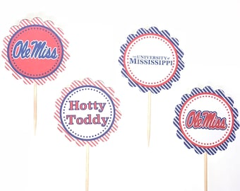 University of Mississippi - Ole Miss - 12 cupcake toppers