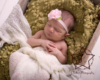 Pink Headband, Nylon Headband, Baby Girl Headband, Newborn Headband, Photography Prop, Pink Flower Headband