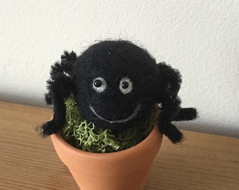 Hand needle felted spider in mini terracotta pot