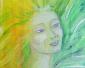 "PAINTING - Oil on canvas ""Flora, nature spirit"" painting"