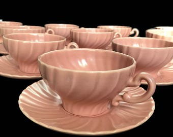 Franciscan Cups and Saucers Coral Beige Matte 10 Cups and Saucers China California Mid Century Dinnerware Set Pink Swirl 1936-1954