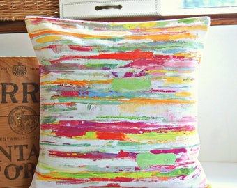 green pink orange yellow cushion cover, 16 inch decorative pillow cover abstract art