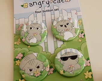 Angry Cat Garden Button Set