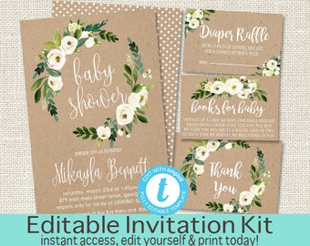 Rustic Baby Shower Invitation Kit, White Floral Kraft Watercolor Baby Shower invite, Watercolor Floral, EDITABLE Instant Download, templett