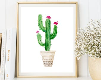 Cactus Wall Art, Botanical Print, Cactus Print, Cactus Poster, Cactus Printable, Tropical Wall Art, Watercolor Cactus Art, INSTANT DOWNLOAD