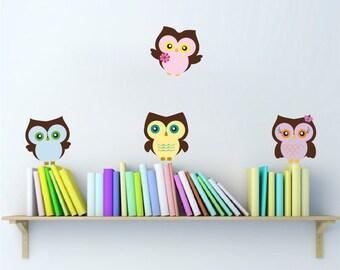 Nursery Owl Wall Decals Peel and Stick Owls Owls Wall Sticker Nursery Owl Kids Room Peel and Stick, Owl Wall Mural, Reusable Owl Murals, n00