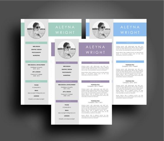 CV Lebenslauf modernes lila blau und Blaugrün Template sofort