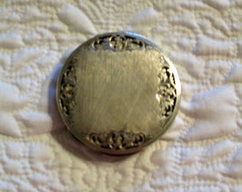Vintage Silver Colored Metal Compact Filigree and Engraved