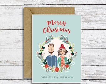 Custom Christmas Card Illustration Portrait Digital File  | Couple, Family, Pet Portrait | Happy Holidays | Christmas Greeting