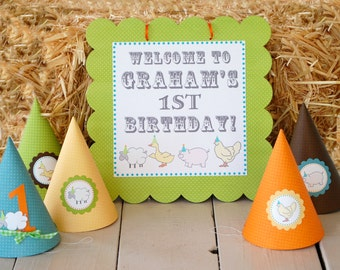 NEW The Vintage Farm Collection - Set of Six Custom Party Hats from Mary Had a Little Party