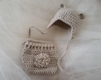 Baby Bear Photo Prop - Baby Bear Beanie and Diaper Cover - Bear Beanie - Newborn Photo Prop - Crochet Beanie