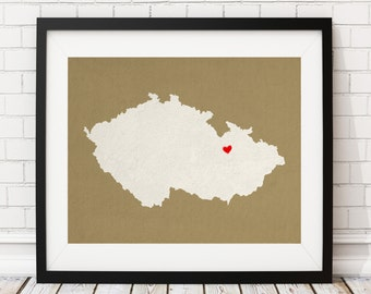 Custom Czech Republic Silhouette Print, Customized Country Map Art, Personalized Gift, Heart Map Print, Housewarming Gift, Home Country Love