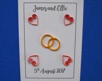 Personalised Quilled Wedding Rings and Hearts Wedding Card