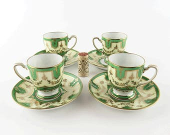 Antique Noritake M Japan Morimura Brothers Demitasse Cups and Saucers Lime Green and Gold Trim Porcelain Hand Painted Nippon Era Art Deco