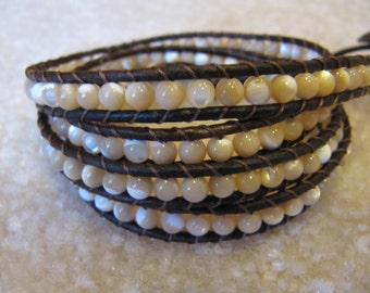 Mother of Pearl Leather Wrap Bracelet with Natural Dark Brown Leather