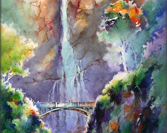 Multnomah Falls- Late Summer Evening- Watercolor Painting Print by Michael David Sorensen. Columbia River Gorge Art. Oregon Waterfall Bridge