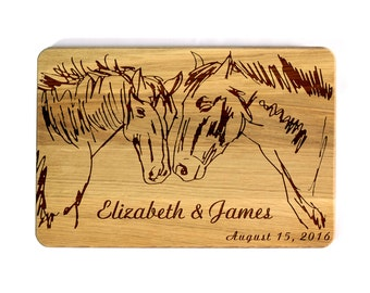 Engraved Cutting board Wedding gift for couple Wedding Horses Custom cutting board Personalized Wedding Gifts Bridal Shower Gift Custom