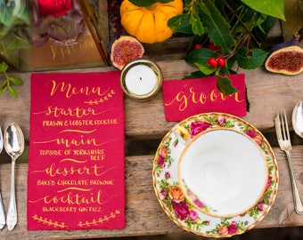 Hand lettered, calligraphy place cards - gold ink