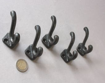 10 small wall hooks shabby, rustic black coat rack diy, coat hooks, towel clothes bathrobe hooks