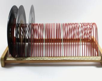 Schallplatten Halter Holzgestell mit Draht Rot/Weiß 50er Jahre Germany