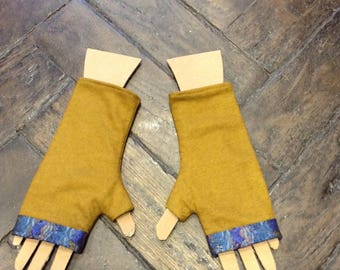 Mustard and blue mittens