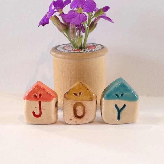 Set of 3 JOY tiny ceramic houses. Handmade, handglazed, House, home, colour, house-warming, gift.