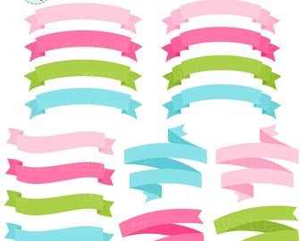 Banners Clipart Set - pink, green, blue - clip art set of banners, frames, labels - personal use, small commercial use, instant download