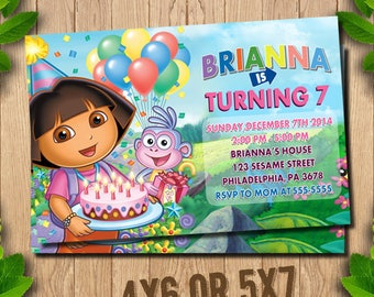 Dora Invitation, Dora the Explorer, Birthday Invitation,  Dora Invite,  Dora the Explorer Party, Dora Printable