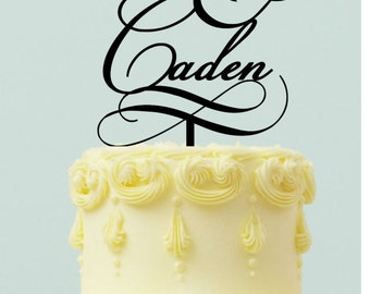 """Personalized Wedding Cake topper """" First Names with Ampersand"""""""