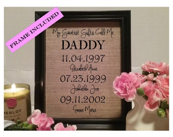 FRAMED Gift for Daddy, My Greatest Gifts Call me, Gift for Dad Birthday, Personalized gift for Daddy, Fathers day gift, dad, father