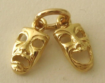 Genuine SOLID 9ct YELLOW GOLD 3D Comedy and Tragedy Theatrical Masks charm/pendant