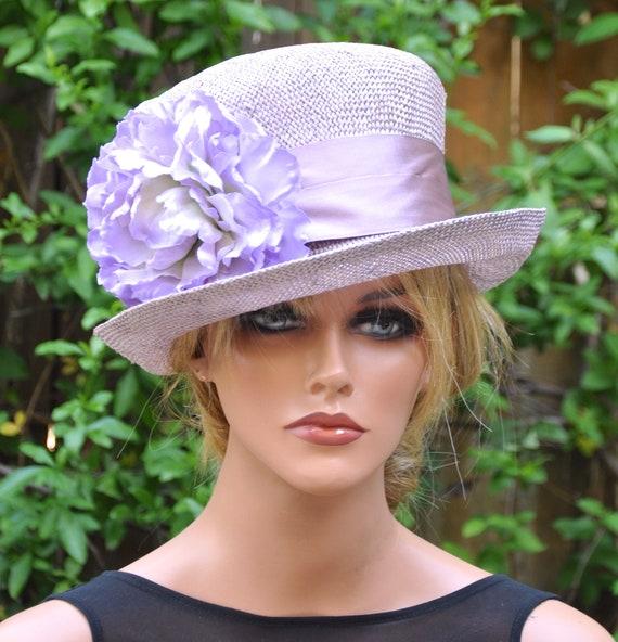 Wedding Hat, Derby Hat, Formal Straw Hat, Lavender Hat, Church Hat, Tea Party Hat