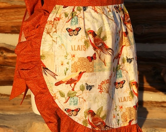 Apron Kitchen Cook Cooking Hostess Pockets Washable Birds Butterflies Fun Useful Washable Rust Cream Blue Tie Back