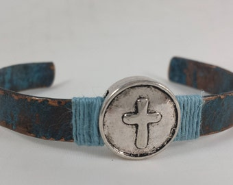Copper Bracelet / Cross Bracelet / Copper Cuff Bracelet / Copper Patina Bracelet / 756