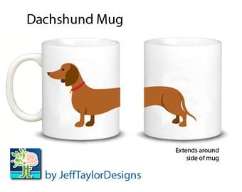 Dachshund Mug  2 Color Choices Tan or Black and Tan