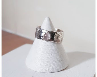Handmade Thick Hammered Sterling Silver Ring With Rose Quartz Gemstone