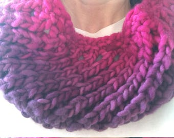 Ombre Red Cowl, Infinity Scarf, Adult, Teen, Ready to Ship