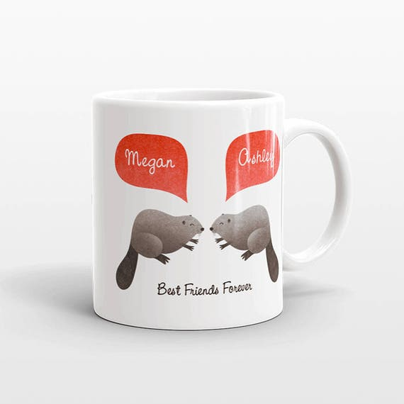 Best Friend Gift, Beaver Mug, Personalized Best Friend Mug, Animal Best Friend Coffee Mug, Unique Friendship Gift Best Friend Birthday Gift
