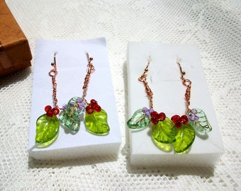 """Dangle Earrings,  """" Spring """" Copper Wire, Copper Ear Wires. Glass Beads, Leaf Beads, Round Beads"""