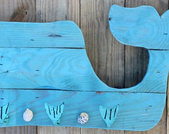 Turquoise whale pallet art, Nautical home decor, Reclaimed pallet wood, Coastal decor, Wood pallet art, Ocean wall art, Jewelry hanger