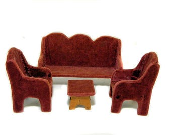 Antique Doll Parlor Furniture Maroon Upholstered