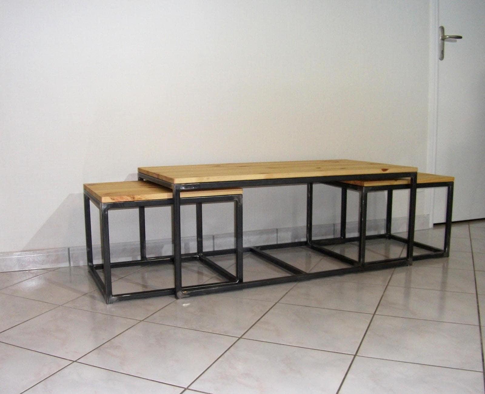 Table basse gigogne acier et bois style loft industriel for Table basse acier et bois