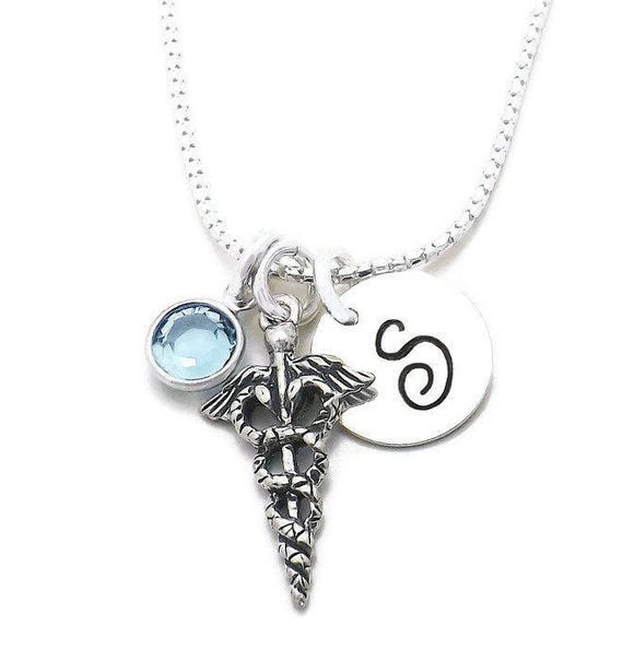 Caduceus Initial Charm Necklace Medical Symbol Necklace Med